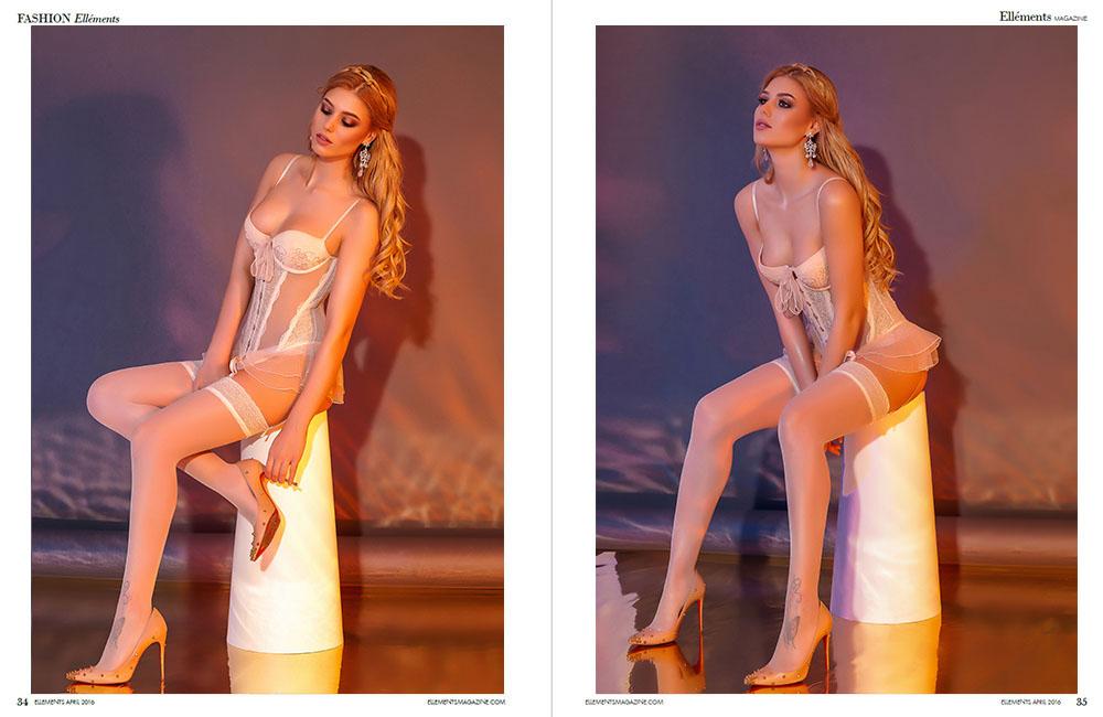 Fotografie glamour editorial lenjerie Ellements NYC, studio foto, fotograf, Constanta, Bucuresti, boudoir, revista